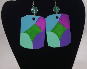 Vibrant hand painted wooden earrings