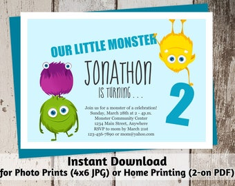 Printable Monsters Invitation - Boys First, Second, Third Birthday Party Invite Template - Instant Download Digital File > Photo Prints