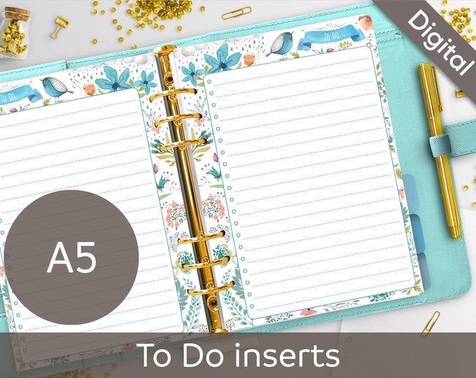 A5 To Do List Printable, Filofax A5 printable refills, ToDo, Checklist printable, Arinne Blue Bird DIY Planner PDF Instant Download