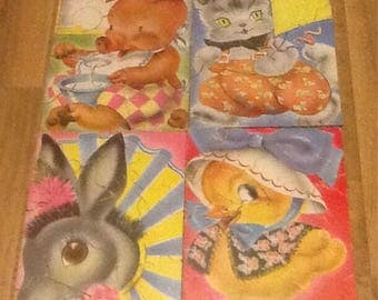 Vintage, Midcentury, Shabby Chic, Nursery or Child's Room, Farm Animal, wall decor, puzzles