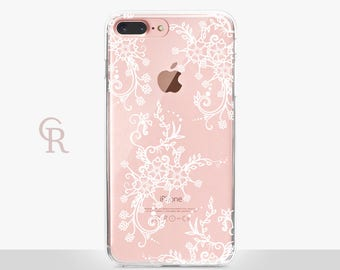 Lace iPhone 7 Clear Case For iPhone 8 iPhone 8 Plus - iPhone X - iPhone 7 Plus - iPhone 6 - iPhone 6S - iPhone SE - Samsung S8 - iPhone 5