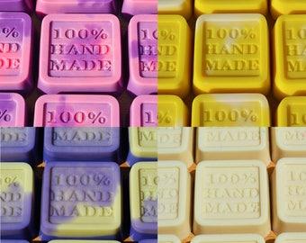 BULK x 100 Handmade Soaps - Coconut Cream, Lavender/Honey, Rose Geranium, Tea Tree/Hemp Seed - 25 of Each