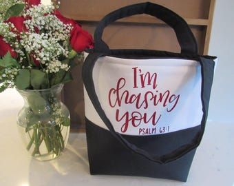 Bible Tote Bag - School Bag - Gifts for Women - Teacher Gifts - I'm Chasing You Tote Bag - Bible Bag - Psalm 63:1 - Custom Tote Bag