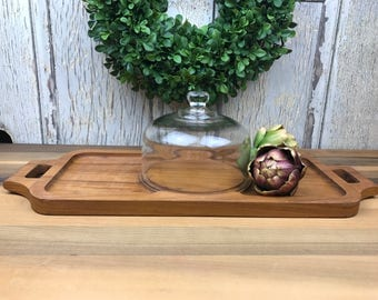 Vintage Mid Century Cheese Serving Tray,  Vintage Wood Serving Tray With Glass Dome, Wood Serving Platter