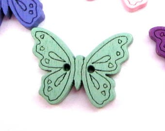 Lot 2 green BUTTERFLIES buttons 25 mm Green wood