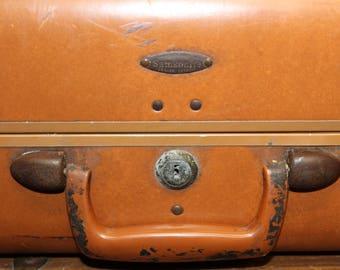 Vintage Samsonite Suitcase, Brown Leather Suitcase, Old Suitcase, Vintage Luggage, Luggage, Large Suitcase. Suitcase Photo Prop