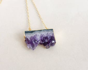 Amethyst and Gold Chain Necklace/Raw Amethyst/Chunky Amethyst/Gold Plated Amethyst Necklace/Amethyst Gemstone Necklace