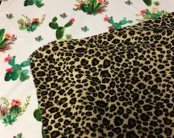 Cactus and Leopard Designer Double Minky Blanket- Southwest Baby Girl minky