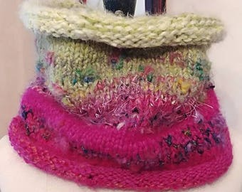Hand Knit Scarf Hyacinth Pink Green Warm Winter Luxurious One of a Kind High Cowl Scarf Valentine Birthday Knitted Hug