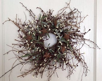 Christmas In July Sale Christmas Wreath with Rusty Stars, Vine Wreath, Holiday Wreath, Winter Wreath, Pip Berry Wreath, Country Wreath, Prim