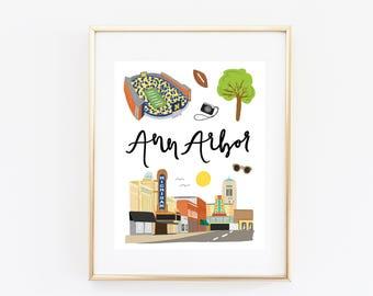 Illustrated Ann Arbor, Michigan Art Print