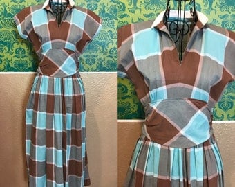 Vintage 1940s Dress - Blue and Brown Checkered Cotton Day Dress - S