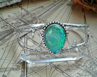 Sterling silver and australian opal cuff bracelet, adjustable silver and Australian opal cuff bracelet