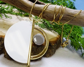 White & Gold Half Circle Pendant Necklace