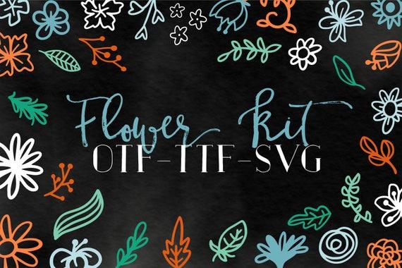 OTF TTF FONT Hand Drawn Flowers Hand Lettered Embellishments Clip Art For Svg's Designer Elements Typeface Dingbat Symbols Commercial Use