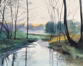 Landscape painting, woodland, River painting, English countryside, winter trees, winter landscape, watercolor trees, landscape watercolor