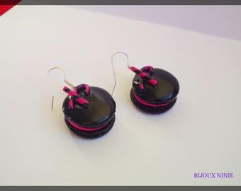Boucle d'oreille macaron candy Fuchsia gourmand fimo