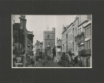 delightful 1940s black and white photograph of carfax tower oxford, antique print vintage wall decor