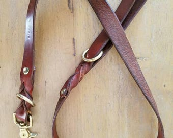 3-Point Leather Leash--4.5 ft, Chocolate Brown