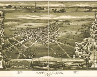 Poster, Many Sizes Available; Map Of Gettysburg, Pennsylvania 1888