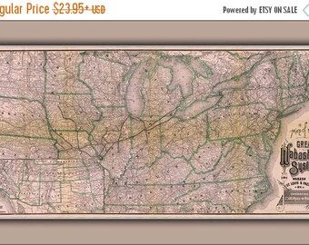 40% OFF SALE Poster, Many Sizes Available; 1886 Railroad Map Of The Wabash, St. Louis And Pacific Railway