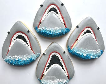 Shark Bite Cookies - One Dozen (12) Shark  Decorated Sugar Cookies