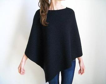 100% MERINO WOOL CAPE/ Pure Wool Poncho/ Black Wool Shawl/ Women Ponchos/ Wool Wrap/ Womens Cape/ Black Poncho/ Asymmetrical Sweater/ Poncho