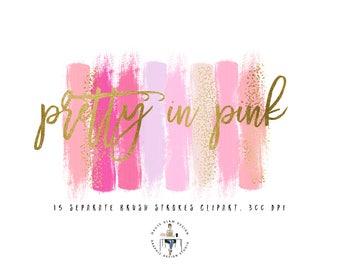 Pink Brush Strokes And Confetti Brush Strokes Clipart Set, Gold Confetti Brush Strokes, Pink, Gold Glitter, Silver Glitter, PNG Clipart