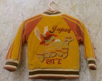 Birthday Sale KIDS Vintage Reversible Embroidered Japanese Souvenirs Sukajan Varsity Jacket, Yakuza, Hip Hop Naughty Kids Size Rare