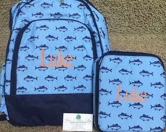 Personalized back pack and lunch bag SET Finn Backpack and Lunch bag, book bag, lunch box, fish print, monogrammed, boys, kids, diaper bag