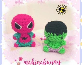 Cute Hulk plush, Spiderman plush, Crochet Hulk super hero plush, amigurumi Hulk doll, crochet doll, plush Spiderman amigurumi doll