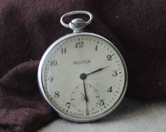 Molnija Vintage Soviet Mechanical Pocket watch 18 jewels 50 years