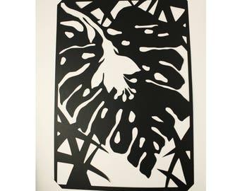 Découpage noir Fleur Tropicale en papier /// Jungle /// Claire Colin