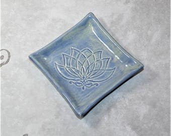 Lotus Flower ring dish made using custom 3d stamps. Great as a coaster, ring dish, watch holder, serving dish.