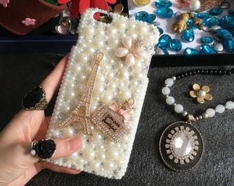 Bling Pearls Cute Eiffel Tower Golden Bottle Flower Floral Charms Glossy Crystals Rhinestones Diamonds Gems Hard Cover Case for Mobile Phone