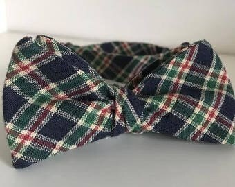 Navy, Green and Red Tartan Plaid Bow Tie