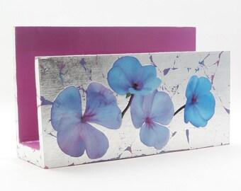 Handmade Letter Holder/ Mail Holder/ Desk Organizer - Silver & Pink Floral Design