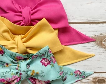 Gorgeous Wrap Trio (3 Gorgeous Wraps)-Pink Taffy, Vintage Yellow & Vintage Garden Floral Gorgeous Wraps; headwraps; fabric head wraps