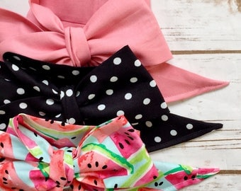Gorgeous Wrap Trio (3 Gorgeous Wraps)- Vintage Pink, Noir Dots & Sweet Melon Gorgeous Wraps; headwraps; fabric head wraps; bows