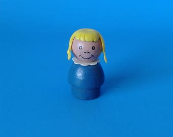 "Fisher Price Little People "" Girl w/Braids WOOD "" 1970's"