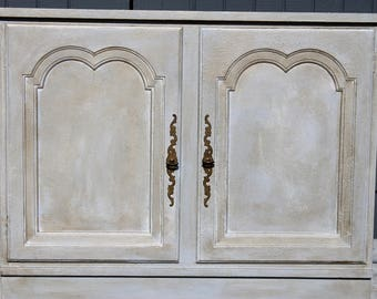 Cupboard Layer Painted with Gray, French Blue, Cream, Silver and Gold.