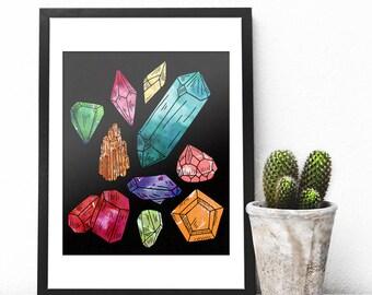 Crystal Watercolor Print, Crystal Art Print, Crystal Cluster Art, Crystal Cluster Watercolor Art Print, Giclee Watercolor Painting, Wall Art