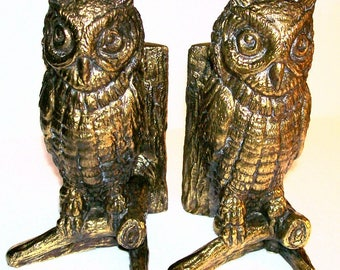 Vintage Hampton VA Cast Metal Owl Bookends Antiqued Gold Brass Finish Book Ends Library Office Decor