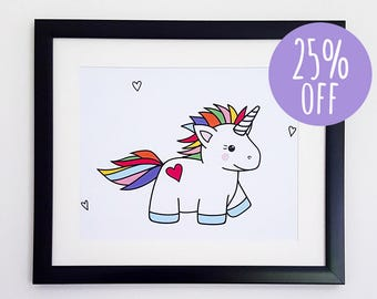 Unicorn Print | Kawaii Unicorn Art Print, Rainbow Unicorn Print, Cute Unicorn Drawing, Unicorn Wall Art, Fantasy Art Prints, Cute Wall Decor
