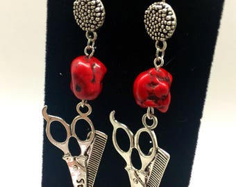 Stylist Earrings, Scissor Earrings, Cosmetologist Earrings, Hairdresser Earrings, Valentine's Day Gift,