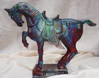 Raku Ming Horse Sculpture