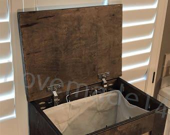 Laundry hamper, wood laundry hamper, DARK WALNUT, (S-Dw-C-hamp)