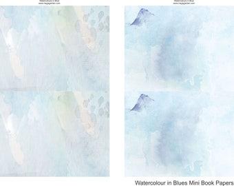 Watercolour in Blues Mini Album or Book