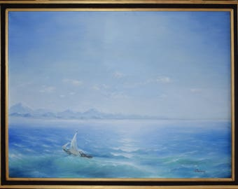 """Original framed Painting 60x80 cm Oil on canvas """"The morning sea"""""""