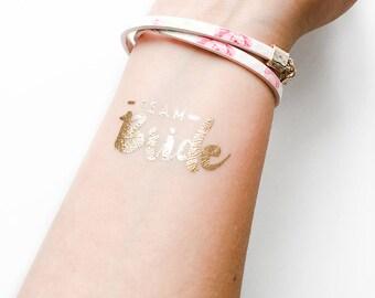 Team bride tattoo, bachelorette tattoo, temporary tattoo, team bride, temporary tattoos, gold tattoo, bride tattoo, team bride tattoos